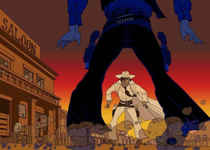 Viñeta de cómic en estilo línea clara. Un duelo de pistoleros en el Oeste.