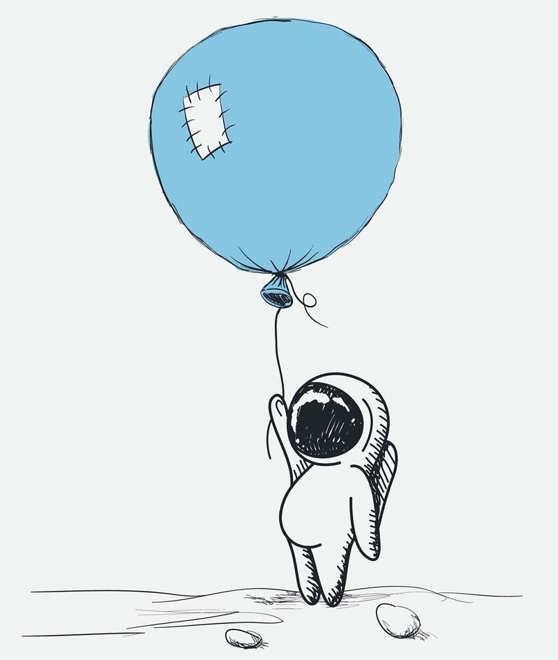 Un astronauta viaja agarrado a su globo. Dibujo infantil.