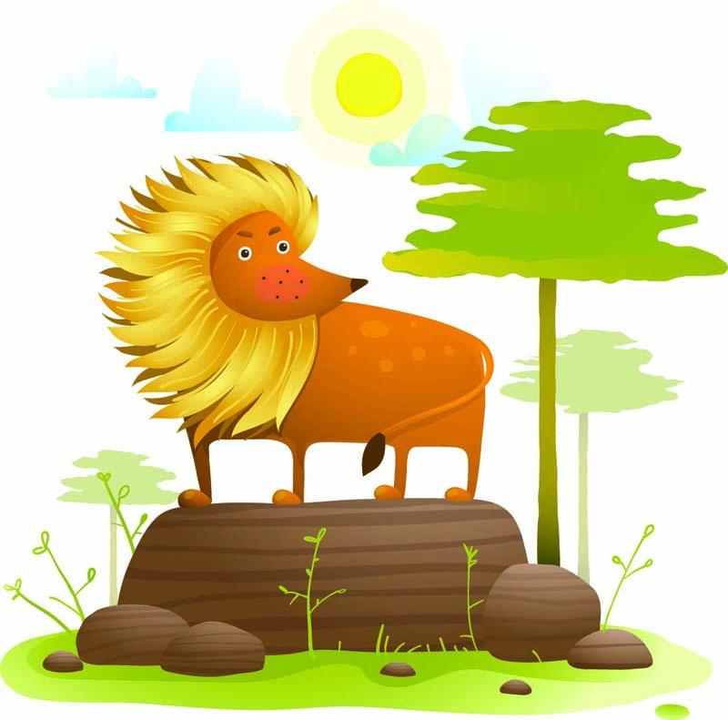 Dibujo de un león para un cuento infantil