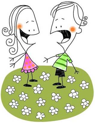 Ilustración infantil vectorial de dos niños hablando en el parque.