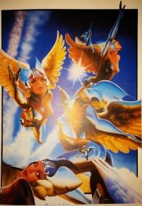 Ilustración de ángeles  con elementos de aviones