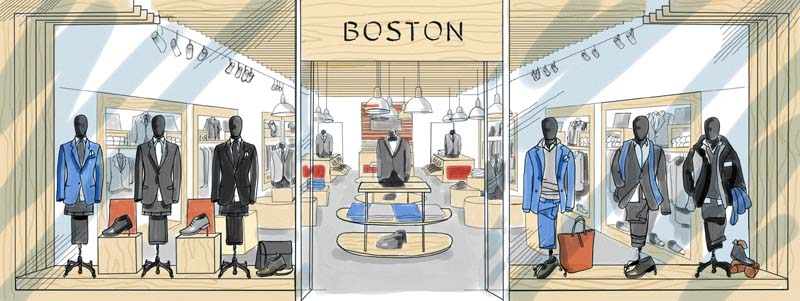 Dibujante de escaparates tiendas. Ilustración artística