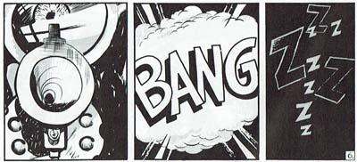 El ojo y el cañón del revólver en primer plano, inmediatamente antes de su disparo, en Spirit (1950), de Will Eisner, que utiliza también expresivas onomatopeyas. © Will Eisner.
