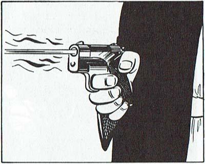 Otro disparo en Primer Plano, extraído de Dick Tracy (1950), de Chester Gould, que consigue el efecto de incrementar la agresividad y el dramatismo de la acción. © The Chicago Tribune.