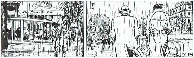 Plano General frontal de dos personajes, seguido de un Plano Tres Cuartos de los mismos de espaldas, en una inversión del punto de vista que se denomina contracampo o contraplano. Las viñetas proceden de Valerian (1980), de Jean-Claude Méziéres. © Editions Dargaud.
