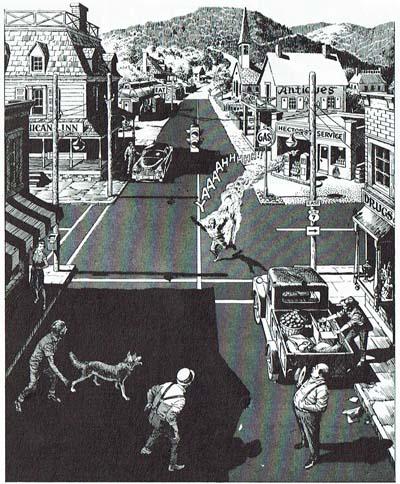 Este Plano General de Hot Spell, de A. Goodwin y R. Crandall, se caracteriza por su efectista angulación en picado y por su gran profundidad de campo, que son funcionales para hacer visible la acción en segundo término, como en muchas películas de William Wyler y Orson Welles. © Goodwin/CrandalI.