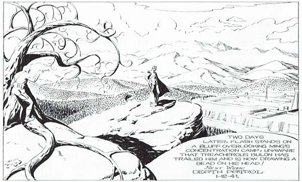 Plano General de Flash Gordon (194), tar al personaje en un paraje solitario. de Alex Raymond, que permite insertar al personaje en un paraje solitario. © King Features Syndicate.