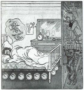 El sueño del adulto ve al travieso niño Buster Brown como un ángel, en esta viñeta de R. F. Outcault, mientras su perro comenta que el soñador parece un ángel (1906). © Richard F. Outcault.