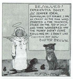 Buster Brown caracterizado como ángel, junto a su declaración escrita y con un estropicio a sus pies. © Richard P. Outcault.