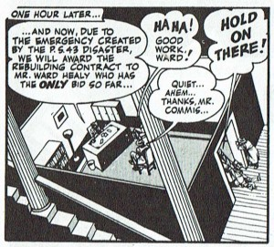 La ausencia de techo permite obtener esta vistosa perspectiva en la viñeta de Spirit de Will Eisner.