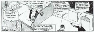 También en esta imagen de Red Barry (1964), de Will Gould, la ausencia de techos y el recorte de una pared, en una fórmula de aire teatral o propia del primitivo cine mudo, permite obtener una extensa perspectiva que abarca la acción en dos habitaciones contiguas, para ilustrar las posiciones del ejecutor y de su víctima.