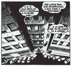 Perspectiva urbana en violenta angulación picada, que hace bascular las líneas verticales, en El niñato, de Gallardo y Mediavilla.