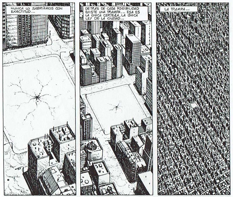 Tres puntos de vista aéreos ofrecidos por Ricardo Barreiro y Juan Giménez en Ciudad, desde alturas crecientes a lo largo de tres viñetas, como si el paisaje urbano fuese visto por un observador que se aleja.