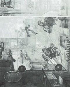 Un mundo en que los suelos y los techos fuesen de vidrio permitiría obtener perspectivas tan indiscretas como la ofrecida por François Schutten en La desbandada.