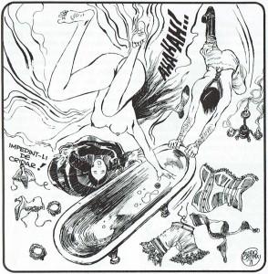 Efecto óptico de zambullida en la bañera, vista desde lo alto, obtenido por Guido Crepax en una original viñeta de Bianca (1971).
