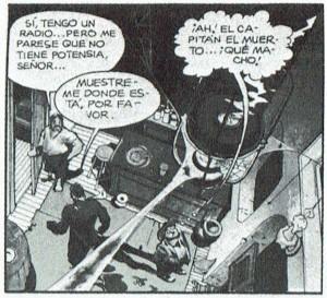La pronunciada perspectiva obtenida por esta angulación en picado en Spirit, de Will Eisner, aparece reforzada por la mirada del personaje de la derecha al techo.