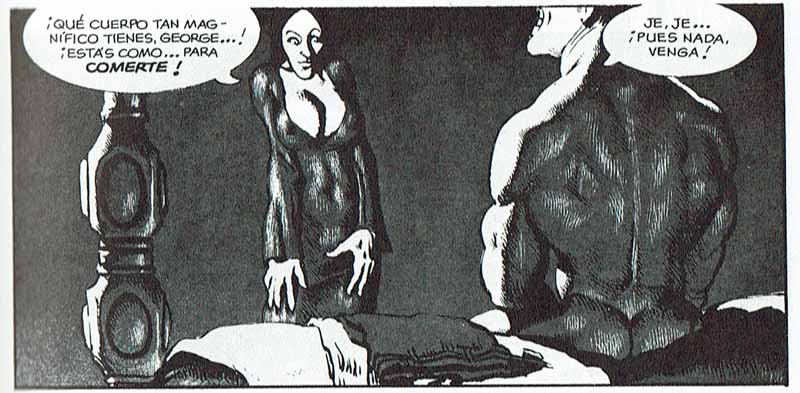 Proposición de canibalismo erótico en la cultura occidental, en una viñeta de Gastric Fortitude, de Richard Corben.