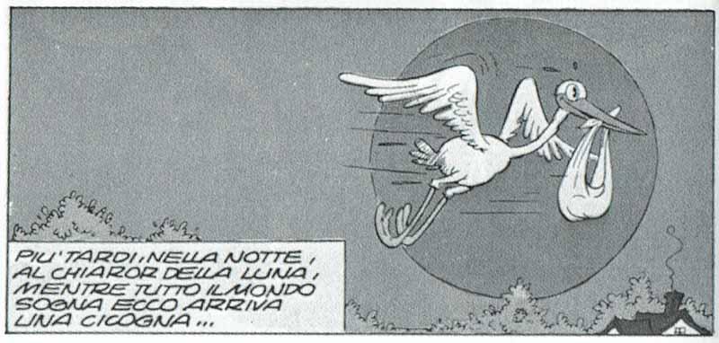 Una típica cigüeña volando con su preciosa carga en el pico, delante de la luna, en Birds of a Feather (1934). © Walt Disney Prod.