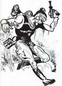 Buck Rogers, primer héroe del espacio dibujado por Dick Calkins, se sirvió de numerosos gadgets técnicos para llevar a cabo sus proezas.