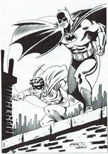 Batman y su ayudante Robin, de Infantino y Anderson, con sus uniformes emblemáticos.