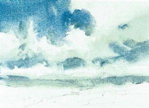 Paso 2 de paisaje con acuarela y nubes