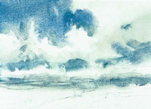 Paso 3 de paisaje con acuarela y nubes