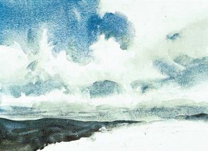 Paso 4 de paisaje con acuarela y nubes