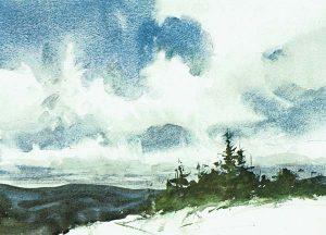 Paso 5 de paisaje con acuarela y nubes
