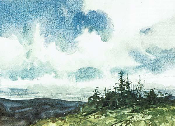 Paisaje con nubes y bosque pintado con acuarela