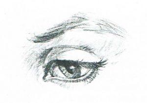 Ojo visto desde arriba dibujado a lápiz. Dibujo realista.