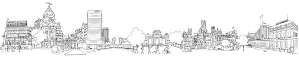 Dibujo panorámico de Madrid