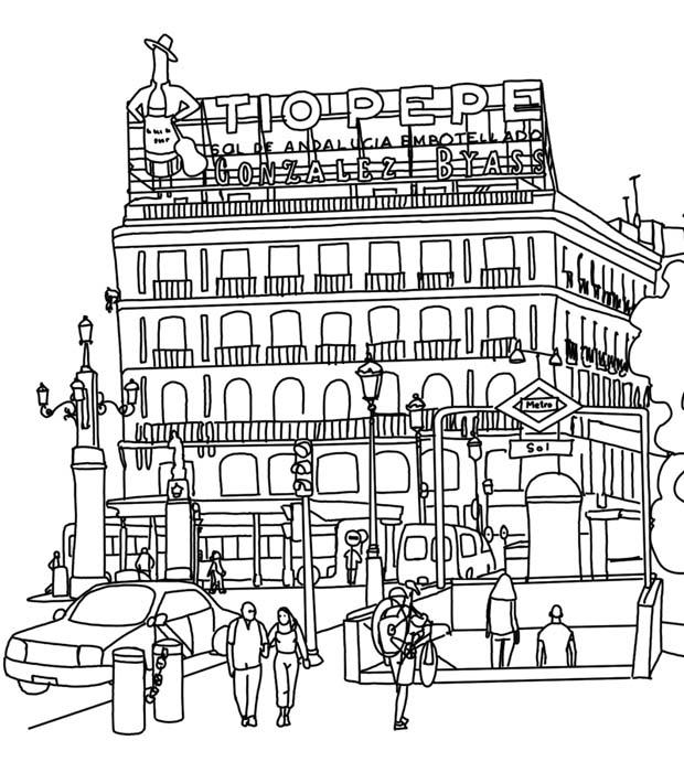 Dibujo de la Puerta del Sol de Madrid con el edificio del Tío Pepe y una entrada del Metro